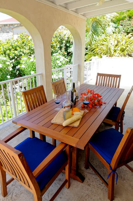 Our dining deck with a view of the Caribbean Sea
