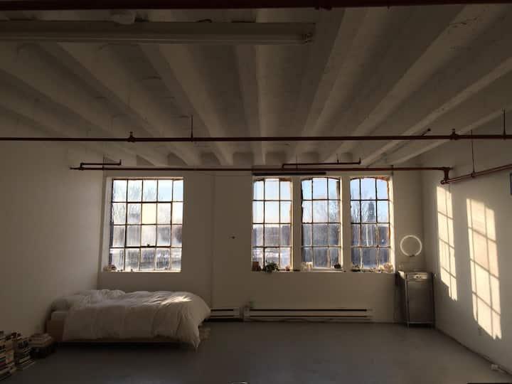 Beautifully minimal, south-facing studio loft.