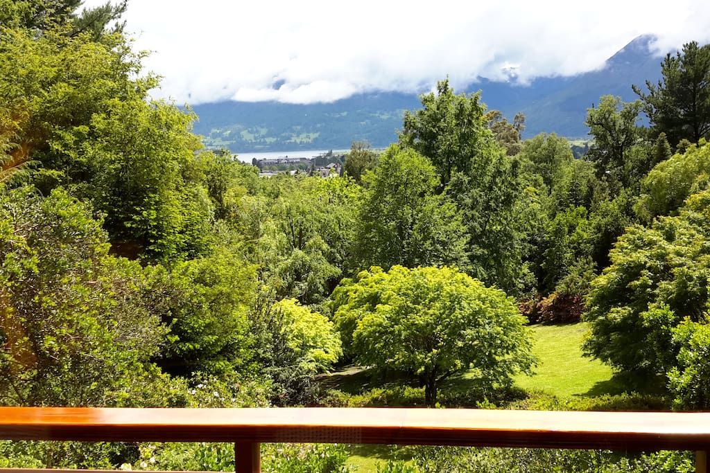 panaramic view of Grand Hotel Pucon and Lago Villarica