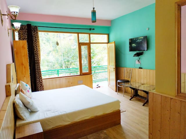 Double room in the center of Manali. Good view.