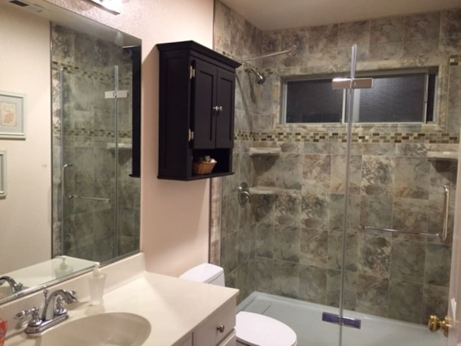 Bathroom with newly updated shower