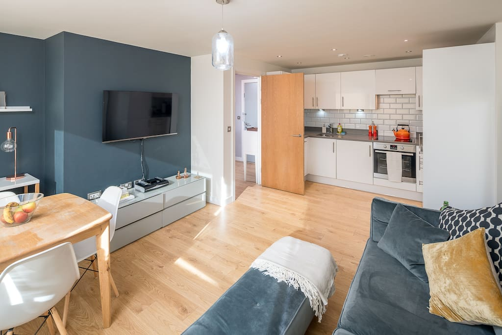 The open-plan kitchen, living and dining area.