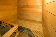 <center>Your own private sauna attached to the full bathroom is the perfect way to unwind <center>