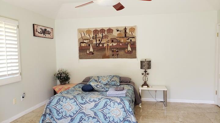 Private Bedroom & bath.  Door opens towards garden