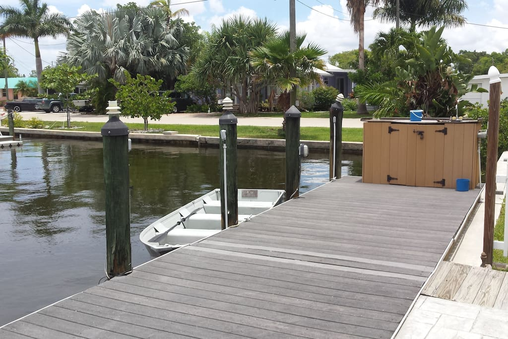 Our Boat dock where you can dock your boats and water crafts with cleaning table and cutting boards to clean your catch