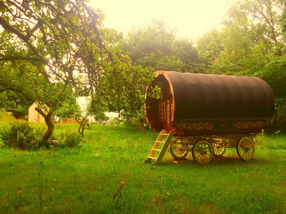 Parked amongst the apple trees