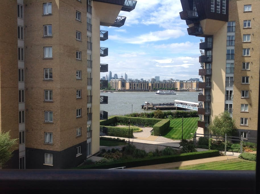 View from communal lounge with balconette window.
