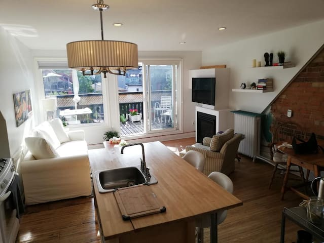 Cozy Bright Dwntn Apart (Fireplace+Patio) Sleeps 4