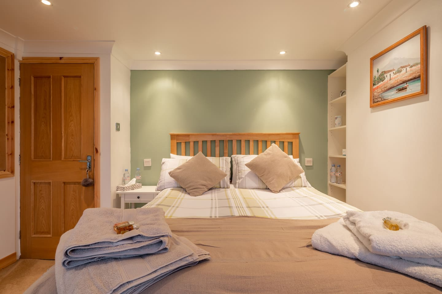 Thick fluffy towels are supplied per person. Each guest has  bottled water supplied and there is plenty more if required