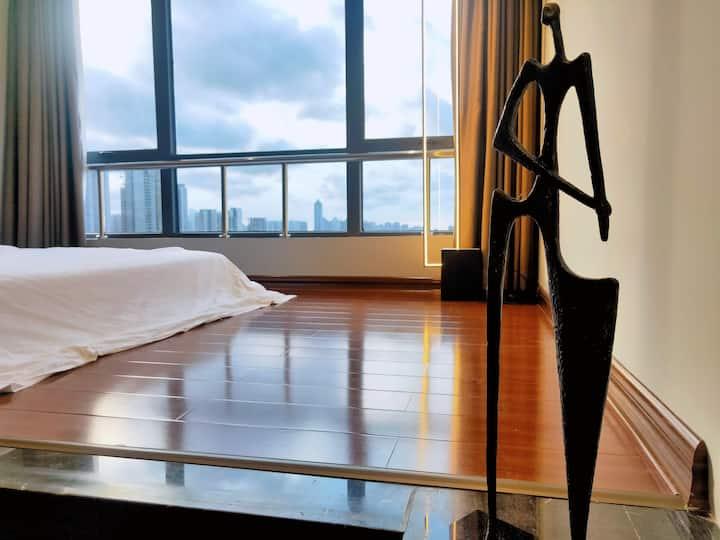 金沙湾/万达广场/荣盛中央广场  非你莫宿-浪漫中式轻奢海景公寓