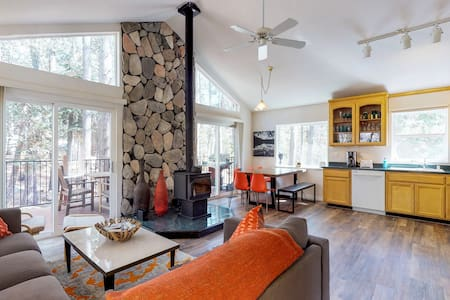 Serene cabin w/deck & wood stove-walk to lake, near skiing/trails