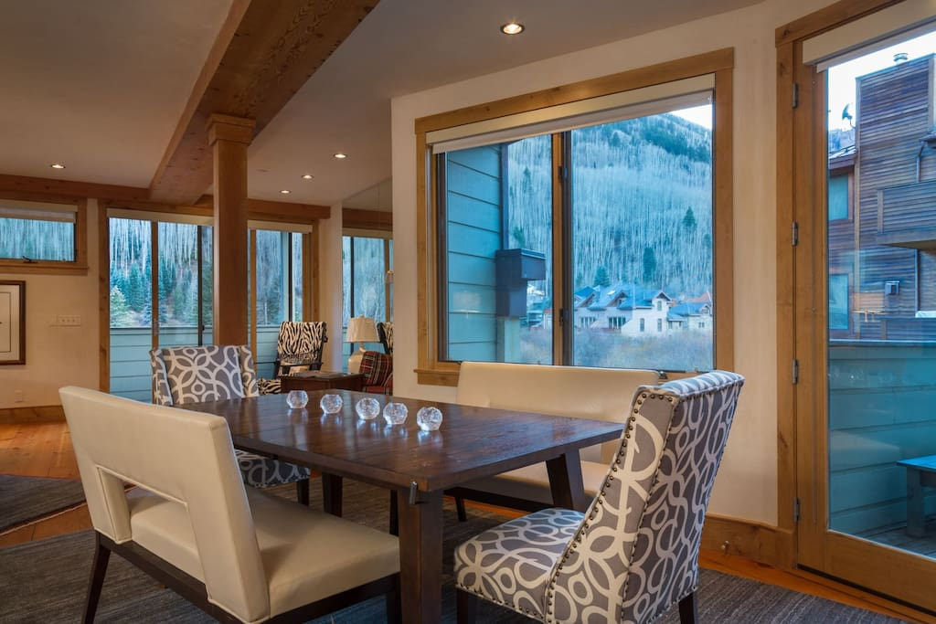 Dining areas allow for plenty of seating--one table seats 6 people comfortably.
