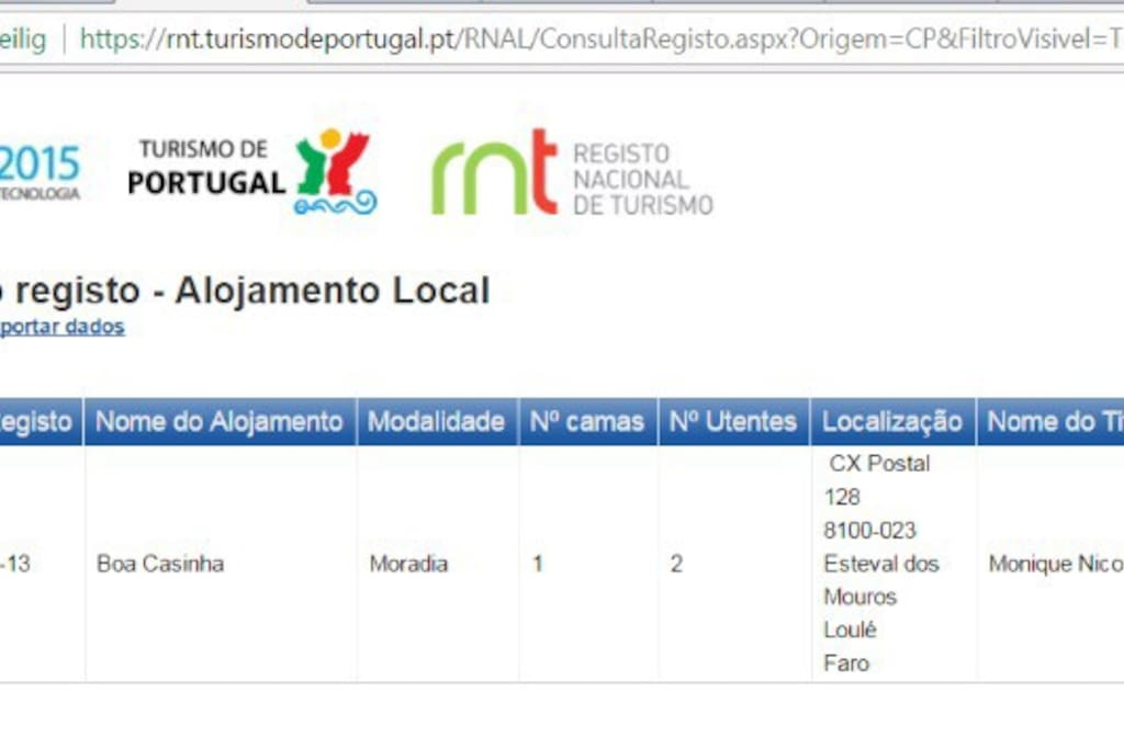 The proof of the official license alojamento local
