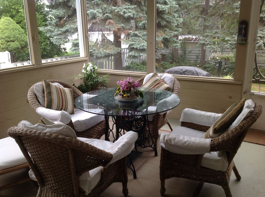 Screen porch off kitchen, lovely in summer.