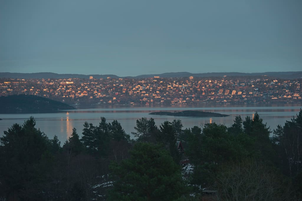 View over Oslo and the Oslofjord from our window