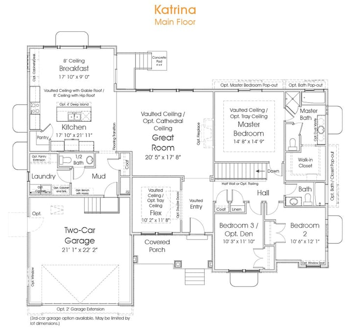 This is the layout of the house.  Wood floors throughout the kitchen, tile in bathrooms, cream carpet in living rooms and bedrooms.