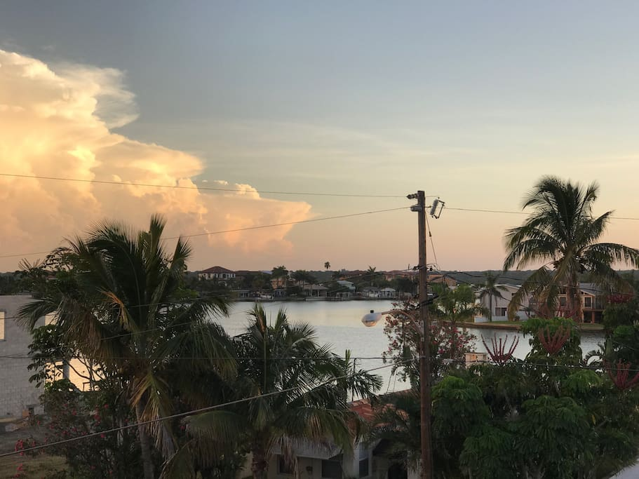 Views of the intracoastal waterway from the master balcony.