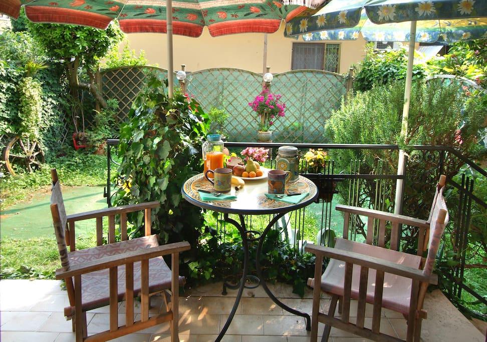 Veranda and private garden
