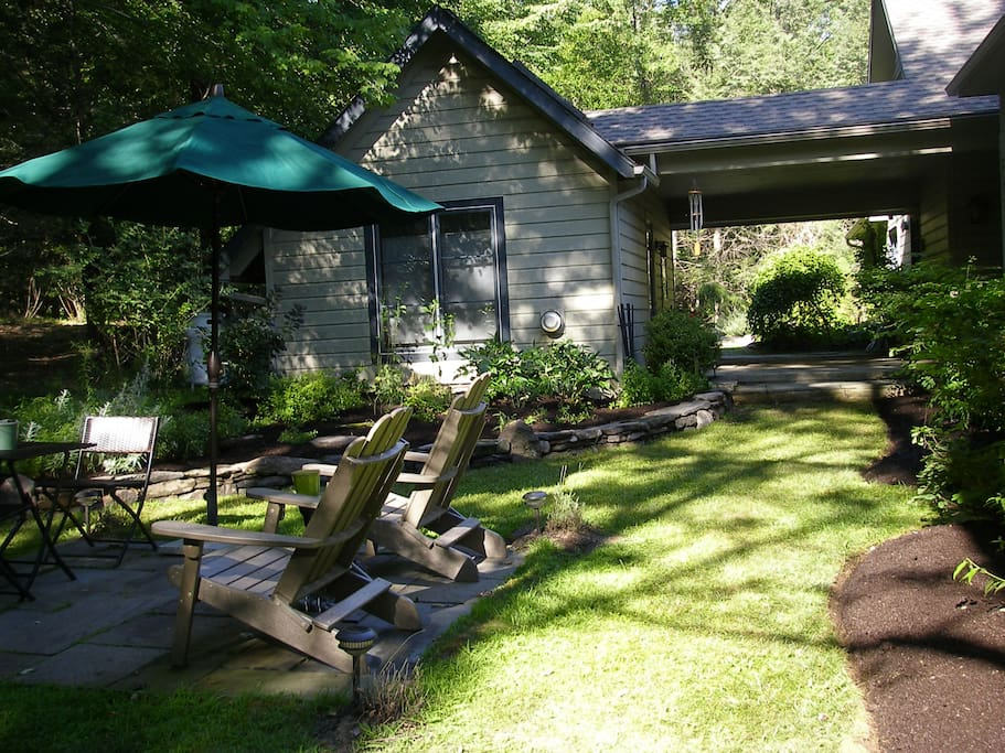 Guest cottage and guest seating area.