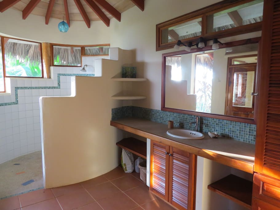 Spacious bathroom with a two-person shower
