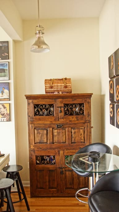 Old English bar cabinet (generally stocked with basics)