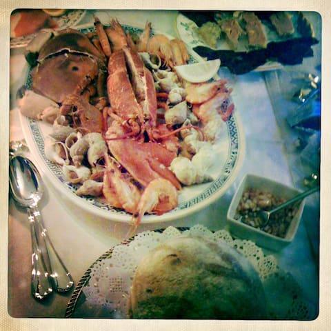 Fruits de mer pour un dîner aux chandelles