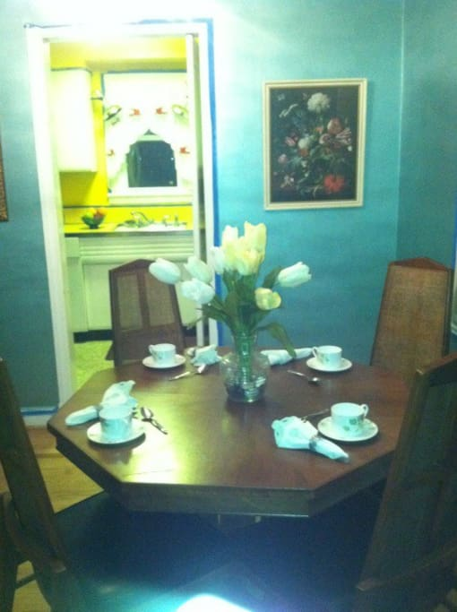 This dining table seats up to six. Intimate dining.