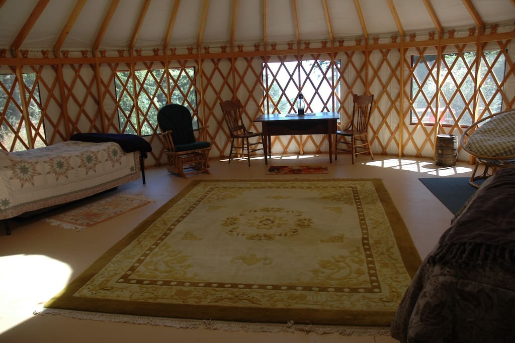 Interior of yurt looking toward south view