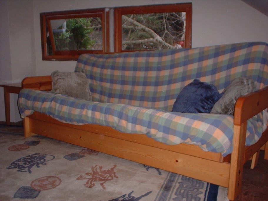 Back BR has a fold-down futon bed with a view of the garden.