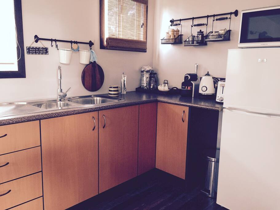 Kitchenette. Tea/coffee making facilities, fridge, electric frypan, cutlery and crockery