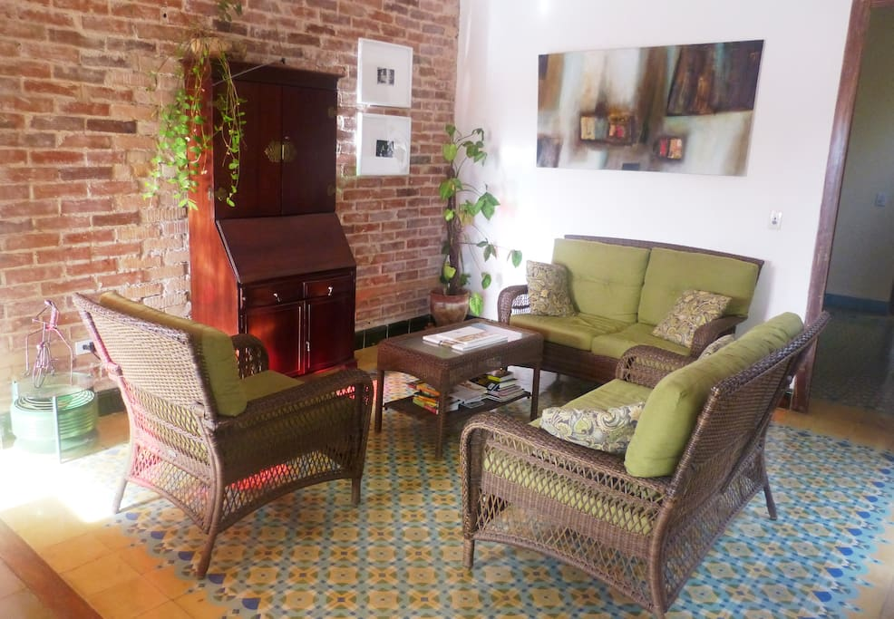 Our friend named this the Mojito Lounge from the beginning: it's a great place to relax and daydream, write in a journal, read a book, watch a film (the DVDs and tv are hiding in the antique escritoire)—or enjoy a mojito!