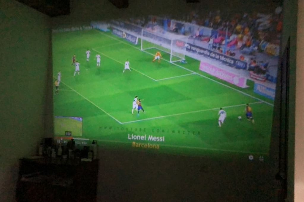 projector in the main bedroom for a home theatre experience