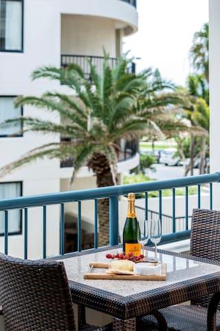 1 Bedroom Apartment: Balcony, views over Coolangatta