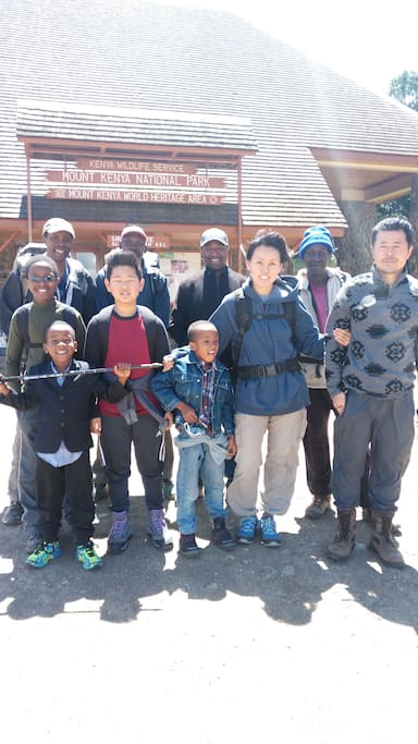Brian,  Tae,  Neil,  Nathaniel and crew 4 day Mt Kenya Trip Departure  at Sirimon gate