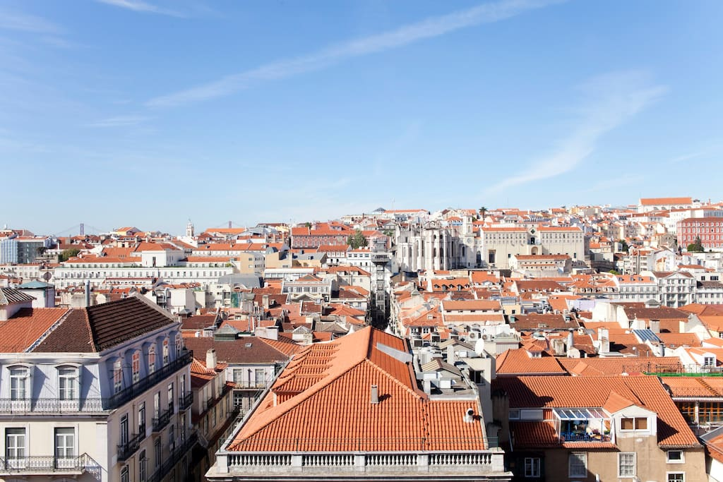 Lisbon from the living room: the Baixa neighbourhood.