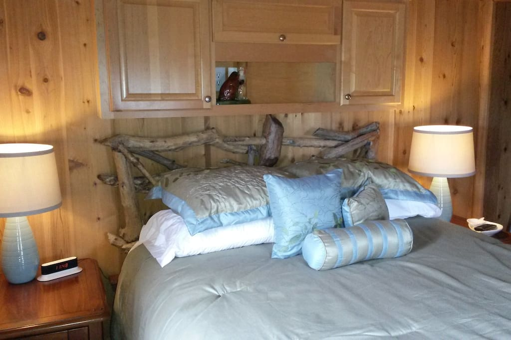 Master Bedroom with beaver wood headboard