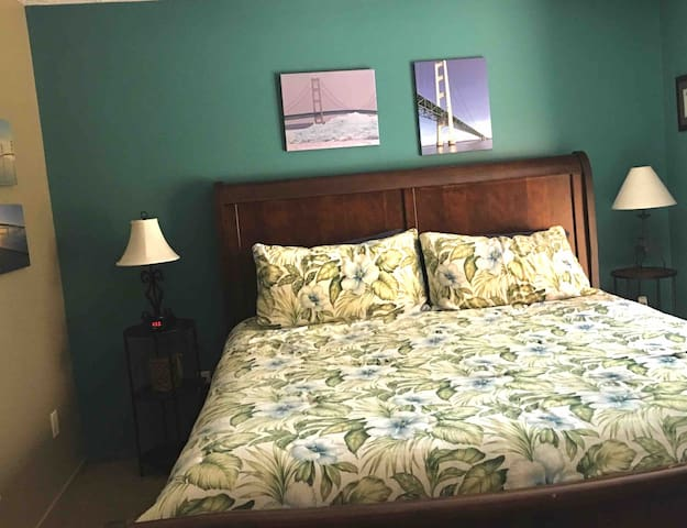 The master bedroom has a King bed, a large closet and dresser.  There is also a closet Washer/Dryer to help make your stay easier.