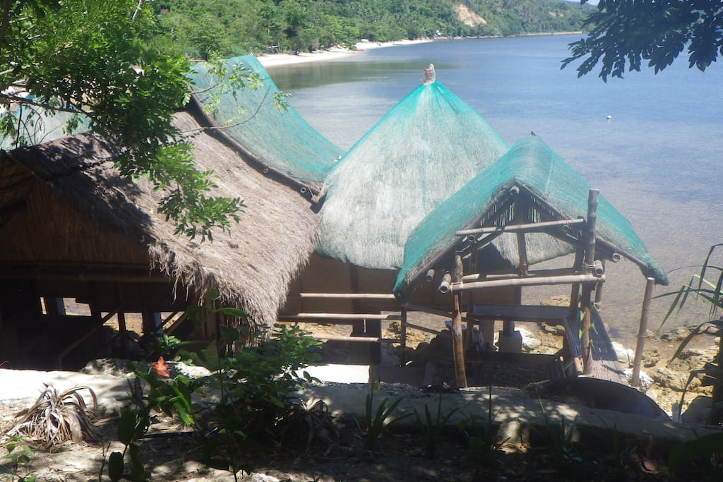 View of Molbog-Tagbanua SandCastles pavilion set in Bali-style compound with plunge pool. Sleeps up to 6. Fan-cooled
