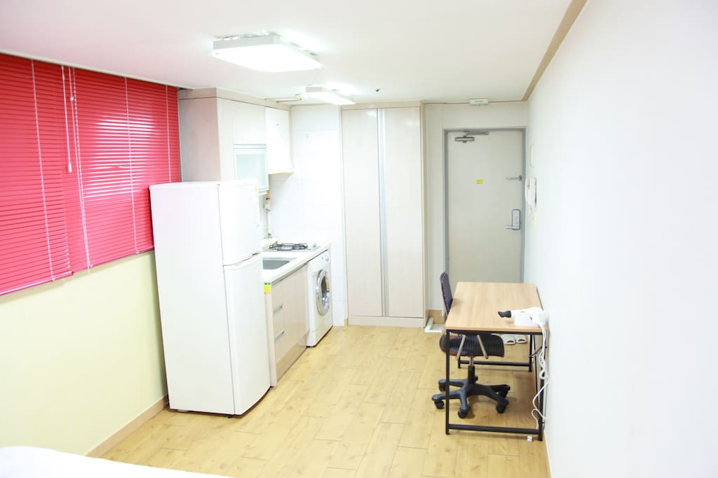 Washing machine, mini kitchen, Desk, refrigerator