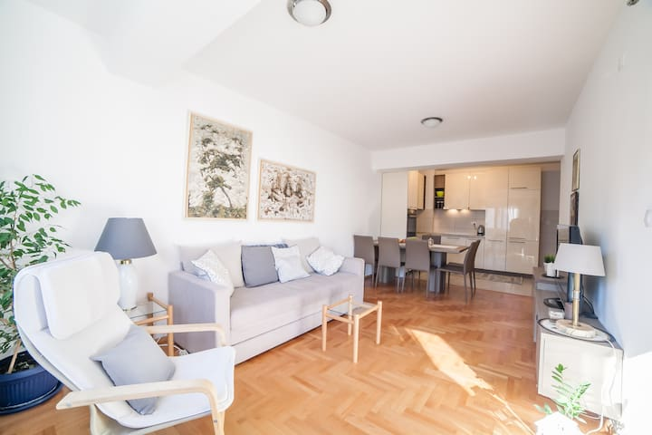 Luxury apartment with two bedrooms in center.