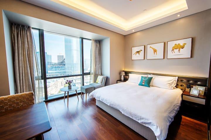 苏州金鸡湖畔摩天轮公园旁高级大床房 - Suzhou Shi - Servicelägenhet