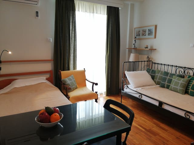 And a typical single bed. The balcony door takes you to the balcony.
