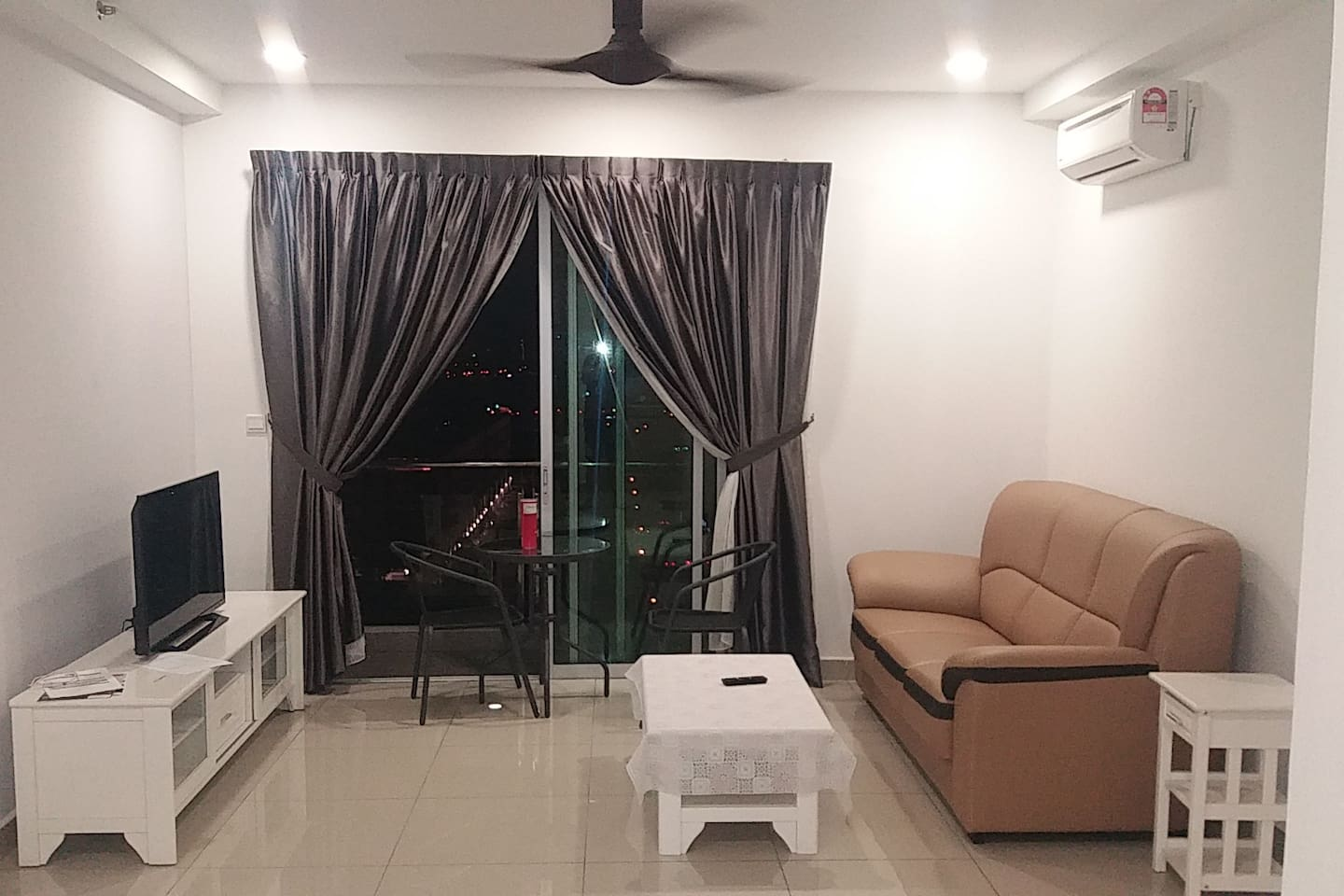 An evening picture of the main living area.