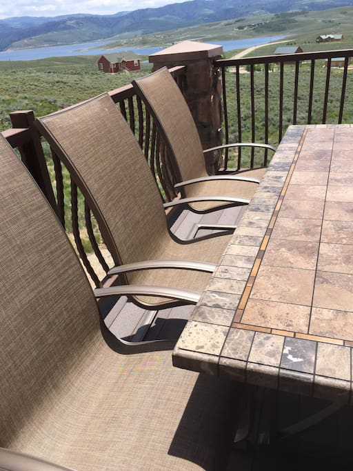 Nice patio furniture to welcome you, don't forget to star gaze!