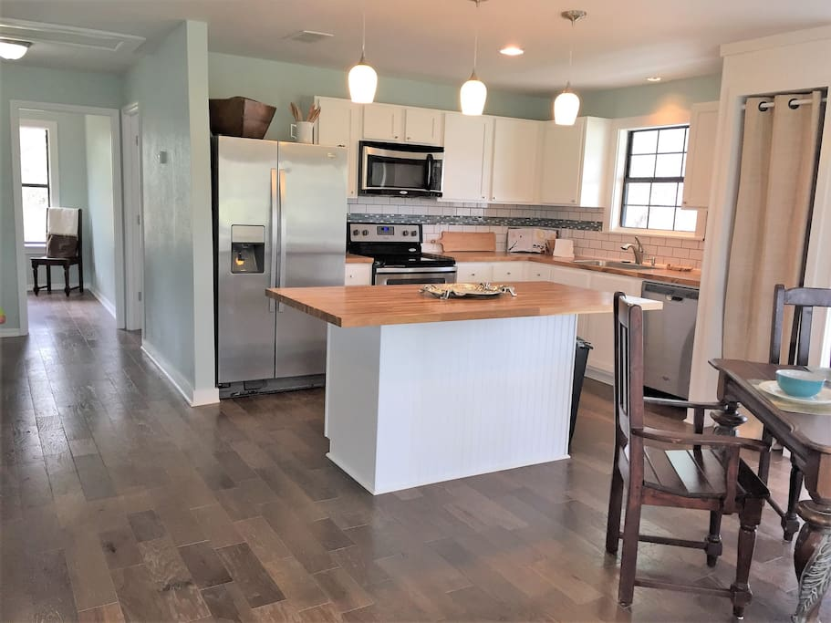 A newly renovated kitchen and floor plan to open up your vacation space.