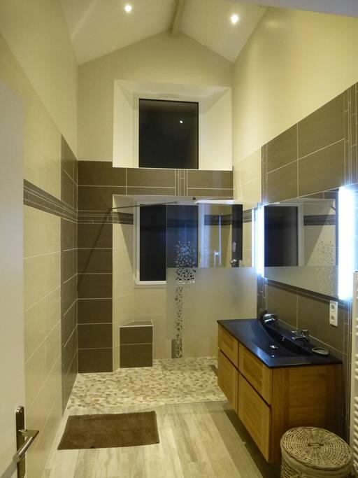 Salle de bain avec douche italienne et colonne hydromassante