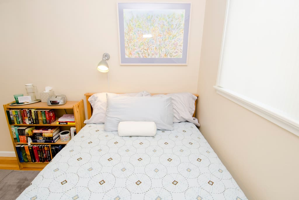 Full-size bed with memory foam topper