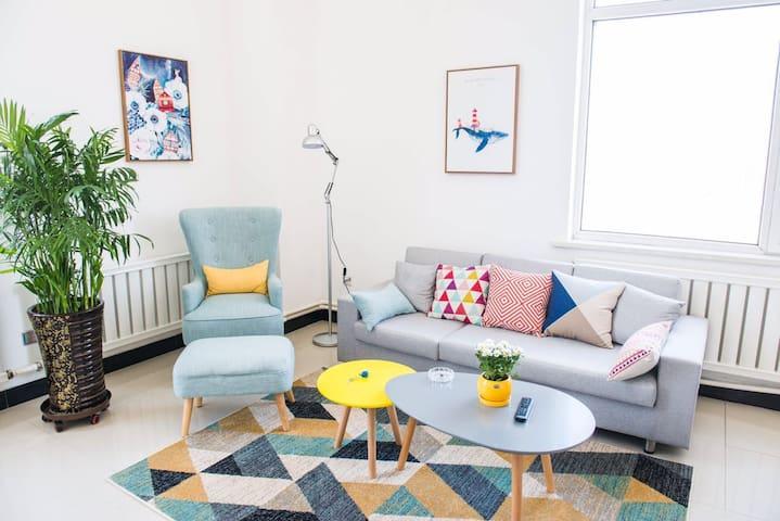 {悟花果} 蓝鲸屋 生活不将就,市中心清新风,最具设计感的loft复式公寓,看尽吉林风光