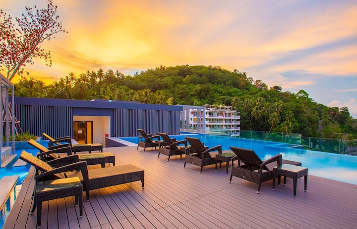 Lovely studio in fresh condo, Infinity pool ❤️ Surin Beach! (713)