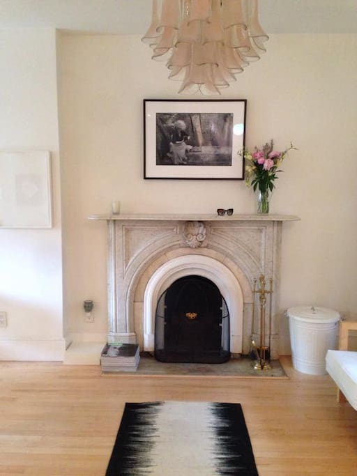 Working marble fireplace